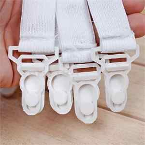New 4 Pcs White Bed Sheet Mattress Cover Blankets Grippers Clip Holder Fasteners Elastic Set