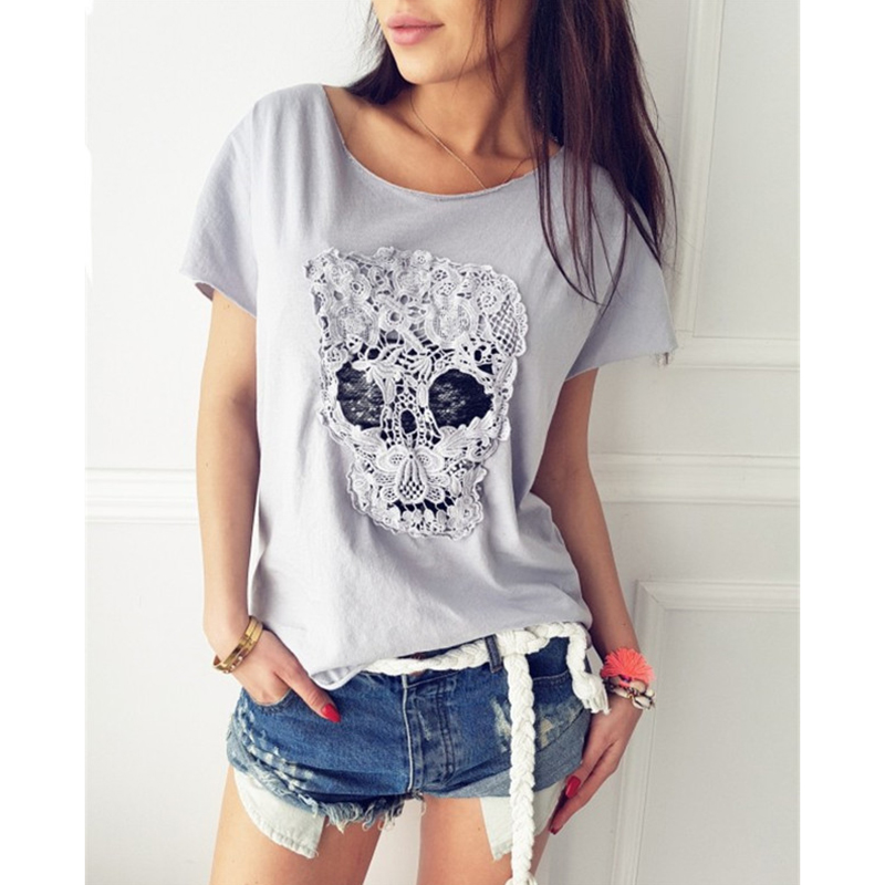 Women Tshirt skull lace patchwork Tops Summer Casual T-shirt Women Skull Print O Neck Short Sleeve punk Tee tops WS9002E Футболка