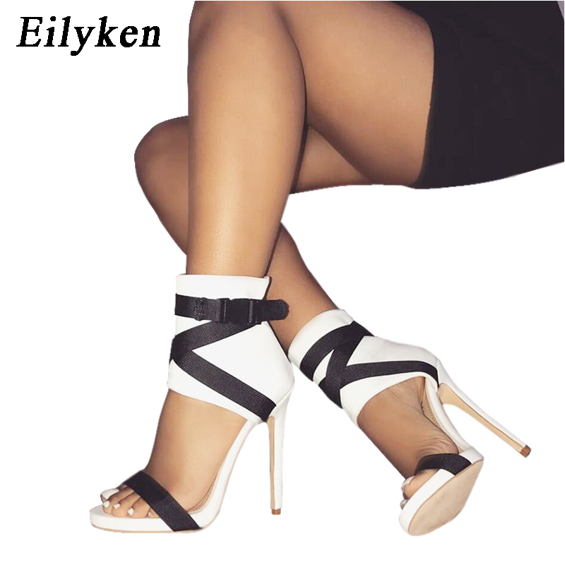 Eilyken Ladies Summer Gladiator Women Sandals <font><b>Sexy</b></font> Pumps 11cm Party Shoes Buckle Strap Heels Red White Wedding shoes image