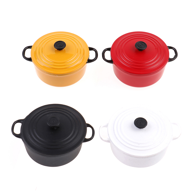 Asien 4 Pcs Dollhouse Miniature Cookware Pot Metal Pan Mini Home Kitchen Rooms Decoration Mini Kitchen Tools for Childrens Gifts Dollhouse Cooking Toy Accessories