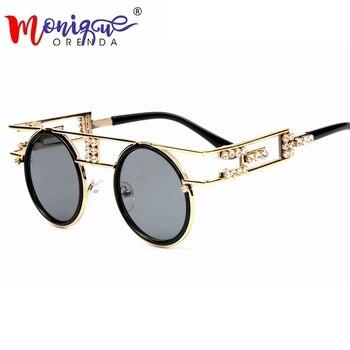 High Quality Metal Frame Steampunk Sunglasses Women Brand Designer Handmand Round Men Gothic Sun glasses Vintage Eyeglasses