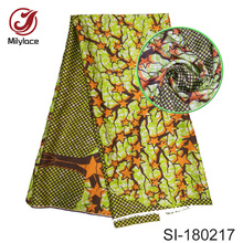Popular digital printed silk fabric African wax pattern nigerian design material for dress 5 yards per lot SI180217
