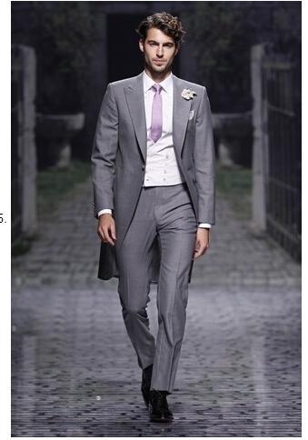 21928d4d4c302 Özel yeni tasarım Slim Fit erkek takım elbise İtalyan gri ceket pantolon düğün  takım elbise smokin