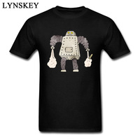 New Tops Tees Robots Print Funny Men S T Shirts For Sale Pure Cotton Quality Short