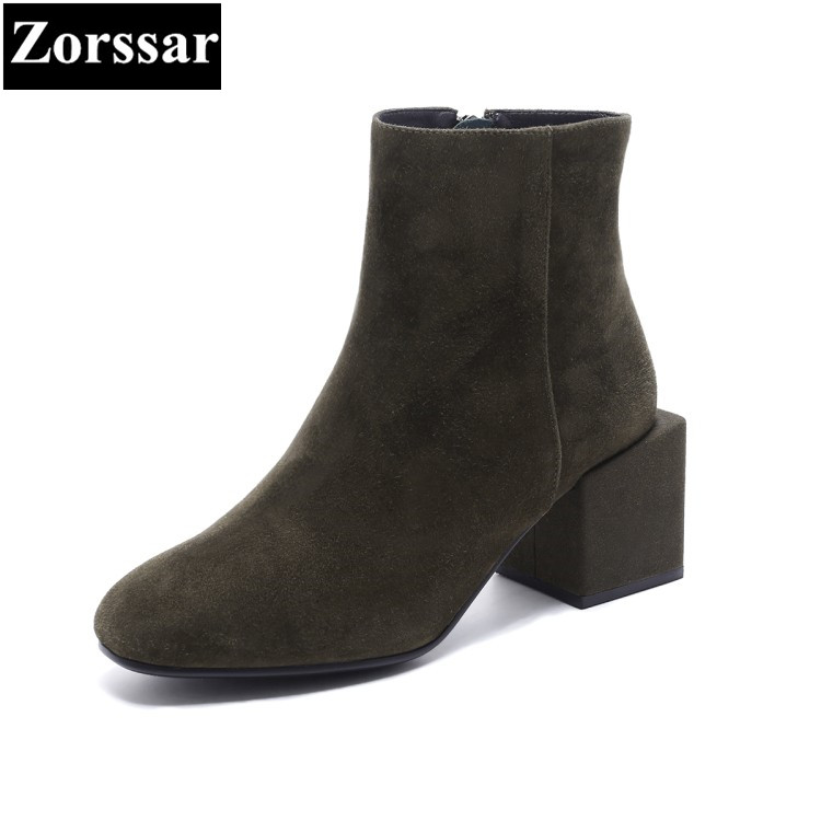 {Zorssar} 2018 NEW fashion Retro Style women Chelsea boots Round Toe High heels womens ankle boots Autumn winter women shoes zorssar brands 2018 new arrival fashion women shoes thick heel zipper ankle chelsea boots square toe high heels womens boots
