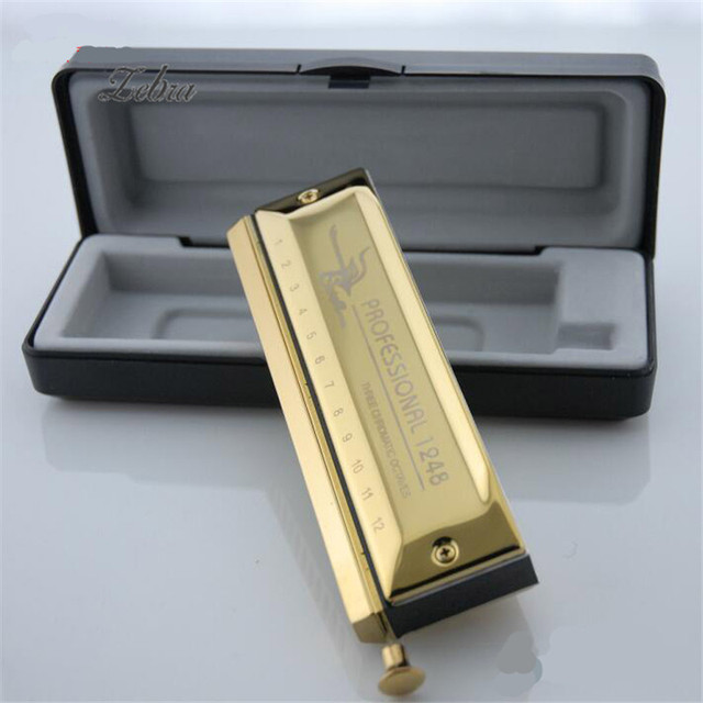 12 Holes 48 Tones Chromatic Harmonica Gold Color Laser Proceeded Board Music Musical Instrument Teaching Performing Accessory