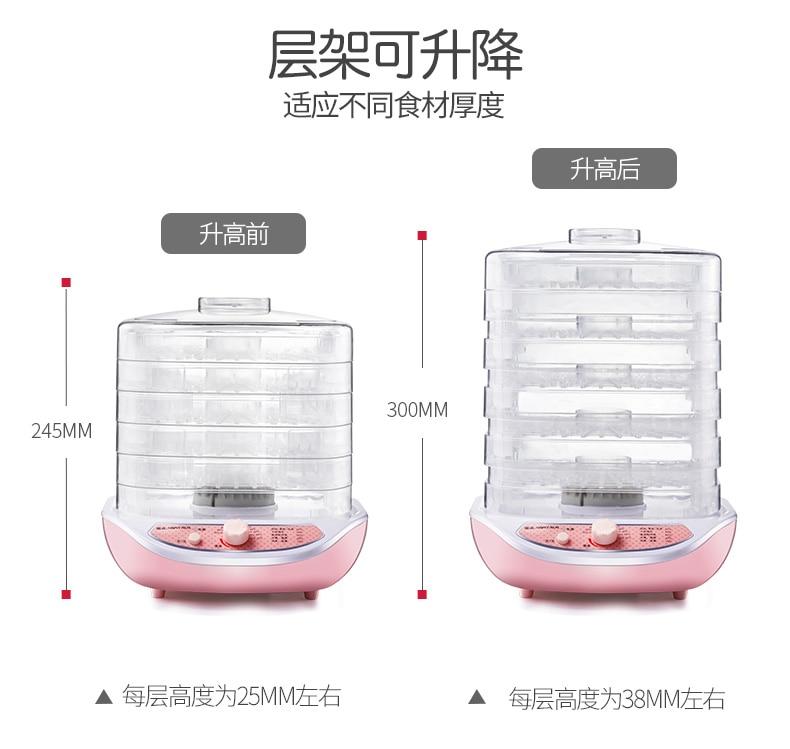 Rose 5 couches électrique intelligent déshydrateur Machine Mini détachable Multi fruits nourriture sèche Pet viande Visible matériel Air séchage outil - 6