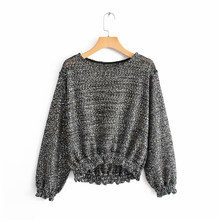 2019 Women Fashion Shinny Sequined Za Knitted Blouse Female Spring Summer Transparent Long Sleeve Bling Shirts blusas mujer(China)