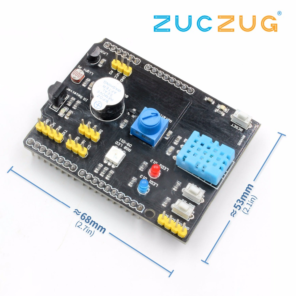 DHT11 <font><b>LM35</b></font> Temperature Humidity Sensor Multifunction Expansion Board Adapter For Arduino UNO R3 RGB LED IR Receiver Buzzer I2C image