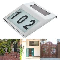 2 LED Stainless Steel Solar Light Outdoor House Doorplate Number Wall Lamp For The Garden Backlight