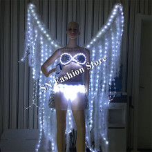 MD17 LED Luminous dress women Performance catwalk stage show clothes ballroom dance led costumes sexy dj wears bar party clothes