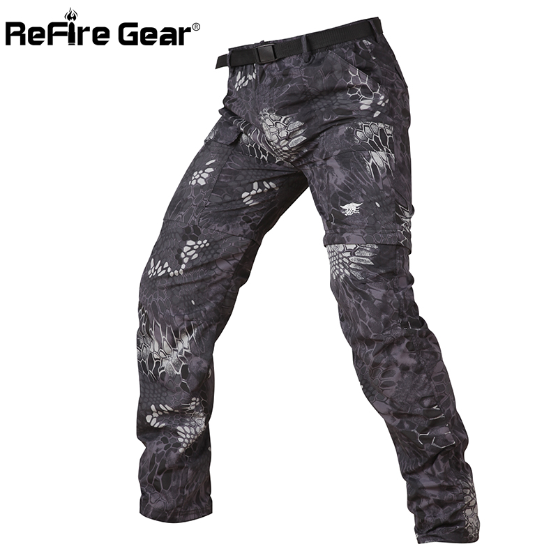 ReFire Gear Camouflage Army Detachable Tactical Pants Men Summer Quick Dry Military Pants Knee Length Zipper Removable Trousers