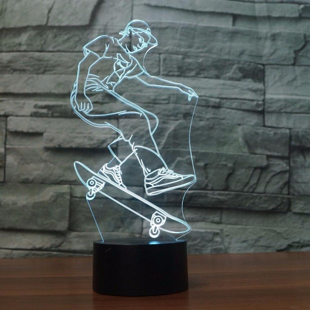Led Skateboard Junge Nachtlichter Usb 3d Extreme Sport Tischlampe Geschenke Schlafzimmer Luminaria Decor Nacht Baby Schlafen Leuchte