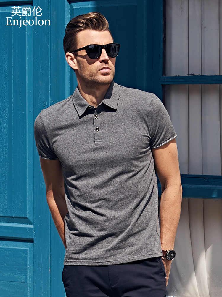Enjeolon 夏ポロシャツ 2019 ブランドメンズファッションコットン半袖ポロシャツ男性固体ジャージ通気性トップ Tシャツ t1687