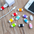 50 unids/lote moda auriculares usb cable protector de cable colorido protector para apple iphone 4 5 5s 6 6 s plus para android htc huawei
