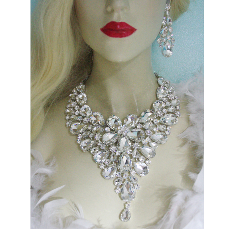 Statement crystal jewelry sets bridal wedding party necklace earrings water drop silver jewelry accessories for women