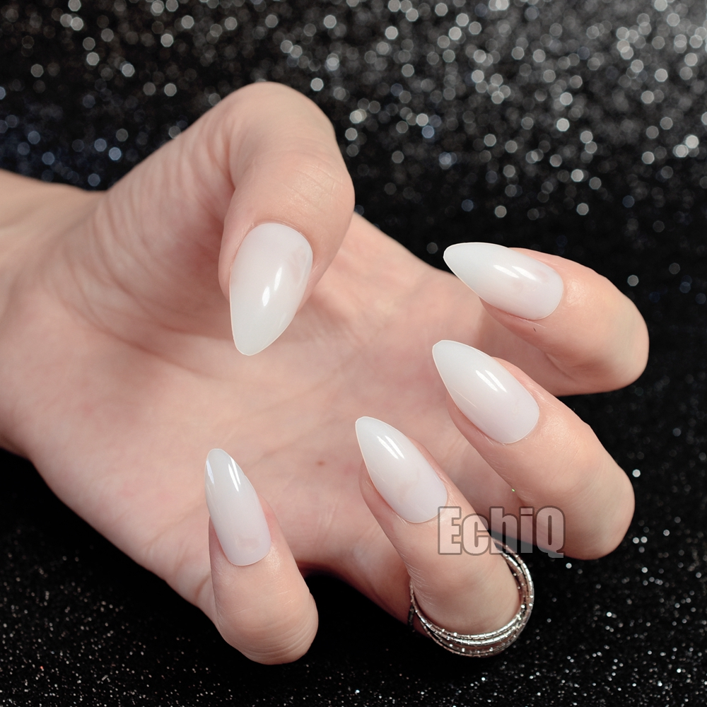 24pcs Half Clear White Nail Art Tips Full Cover Oval Sharp Stiletto ...