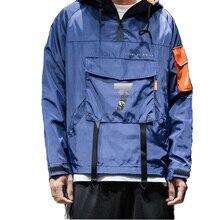 2019 моды для мужчин с капюшоном ветровка повседневная с длинным рукавом куртки пальто