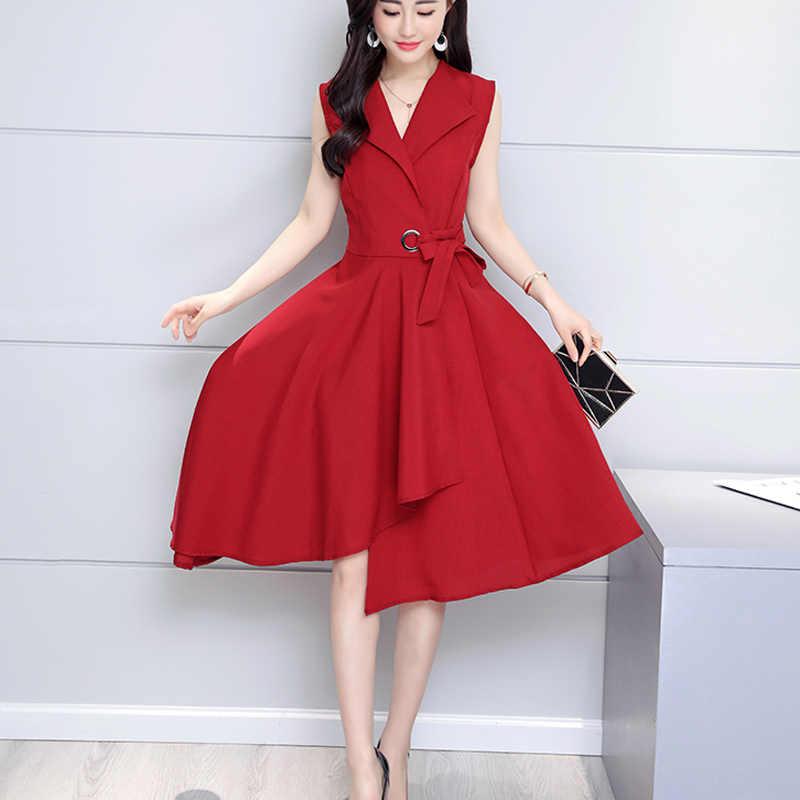 Saiqigui 2019 Новое модное летнее платье без рукавов для работы OL женское платье повседневное A-Lin v-образным вырезом элегантное платье de festa