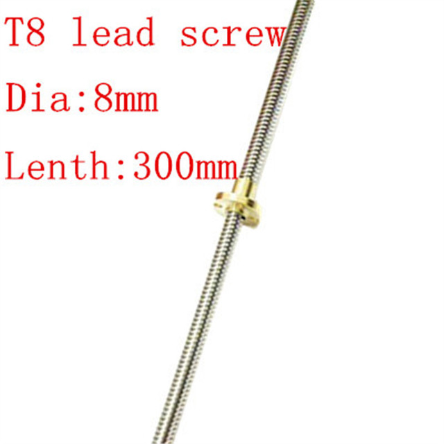 Free shipping! High Quality T8-8mm*300mm Lead Screw/Thread Rod with Copper Nut for Prusa I3 3D Printer