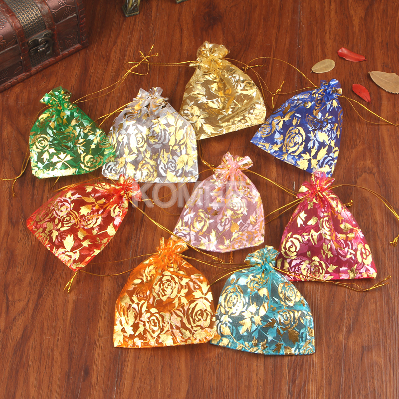 Wholesale Rose Printing Organza Bag 500pcs lot 20x30cm Large Drawstring Wedding Gift Bags For Christmas Decoration
