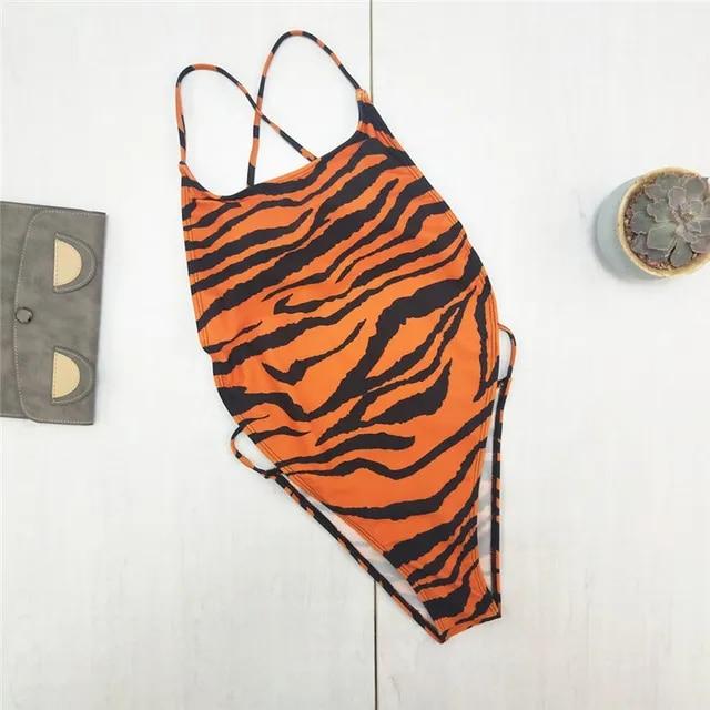 Women Camisole Leopard Print Backless Bikini Jumpsuit Swimsuit Beachwear