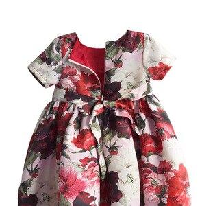 Image 4 - ファッション花の女の子のパーティードレス赤綿子供子供ドレスゴールデンクラウン弓女の子の服パーティー結婚式