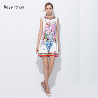 New Arrival Factory Wholesale Occident 2017 Summer Vase Printed Jacquard Dress 170210LU04