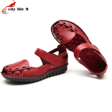 Leather Leisure Shoes Soft Bottom Slip Flat With Hook Loop Cut Outs Casual Middle Aged Mother