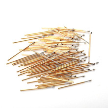 цена на 100 PCS Gold Color Copper Test Probes Conical Tools Plated Nickel Spring Test Probe PM75-T2 Length 27.8m Needle head Dia 1.3mm