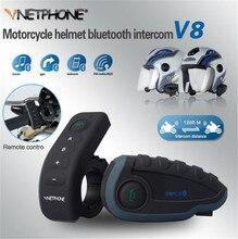 VNETPHONE V8 1200 м Bluetooth Интерком мотоциклетный шлем переговорные полный дуплекс 5 человек гарнитура NFC удаленной Управление полный дуплекс + F