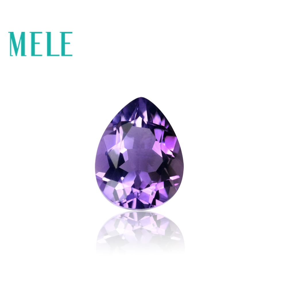 MELE Brazil natural amethyst for jewelry making,Top quality 7X9mm 1.5ct pears cut gemstone,DIY loose mian stone