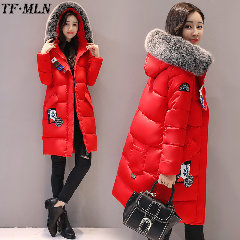 Winter Jacket Women Parkas Coat Outerwear Cotton-Down Fur Collar Parka Female Overcoat Thick Hooded Jacket manteau femme hiver zoe saldana 2017 winter women coat long cotton jacket fur collar hooded letter print outerwear femme casual parka