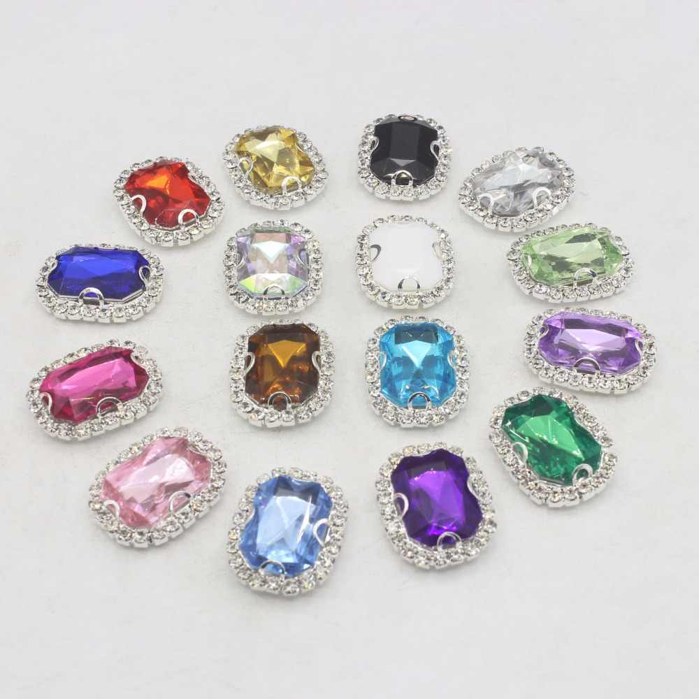 685ece38b3 Acrylic Diamond Rhinestone Flatback Gem Buttons DIY Clothing Applique Metal  Craft Decoration for Bridal Gem Embellishment Dress
