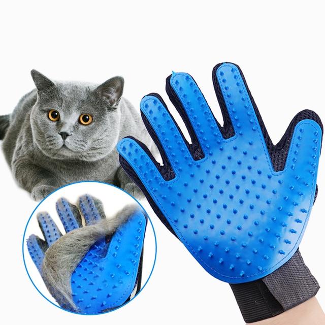 Pet Grooming rękawic kot włosów usuwania rękawice z jednym palcem De rzuca szczotka grzebienie dla kot pies koń masaż grzebienie Pet Supplies kot akcesoria