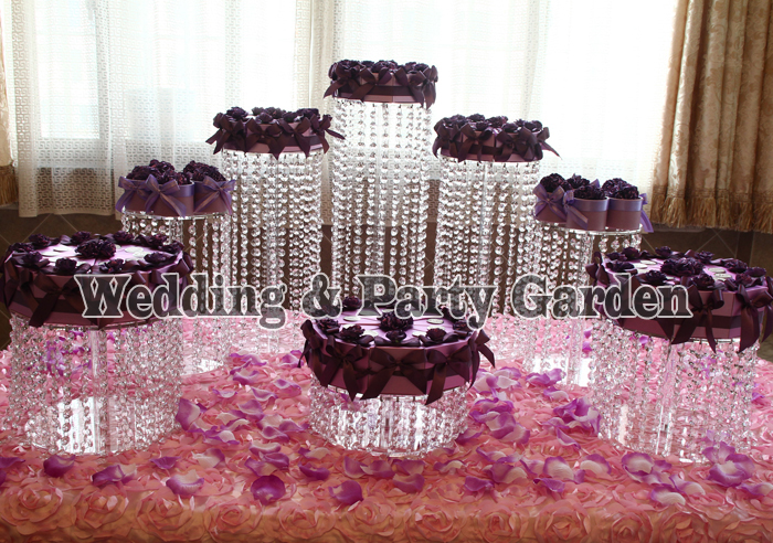 8pcs Birthday Luxury Crystal Clear Circle Acrylic Round Cupcake