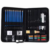 48PCS Professional Sketching Drawing Pencils Kit Carry Bag Art Painting Tool Set Student Black for Drawing Sketching and Writing