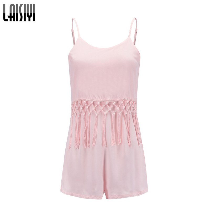 LAISIYI Summer Beach Tassel Sexy Playsuits Women Pink Sleeveles Backless Fitness Short Jumpsuit Rompers Casual Overall ASJU20206