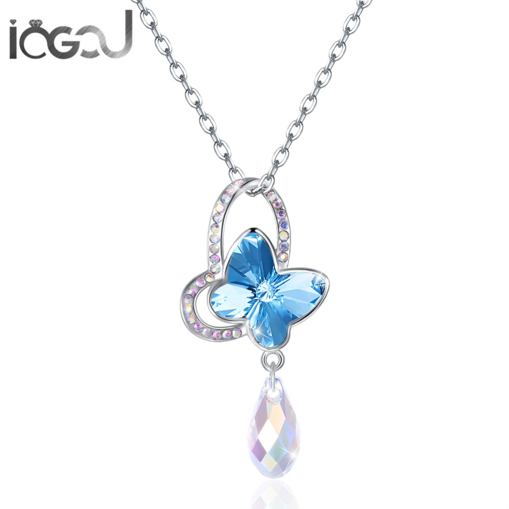 IOGOU Pink/Blue Butterfly with Water Drops Crystal From Swarovski Solid 925 Sterling Silver Mujer's Pendents Necklace Chain