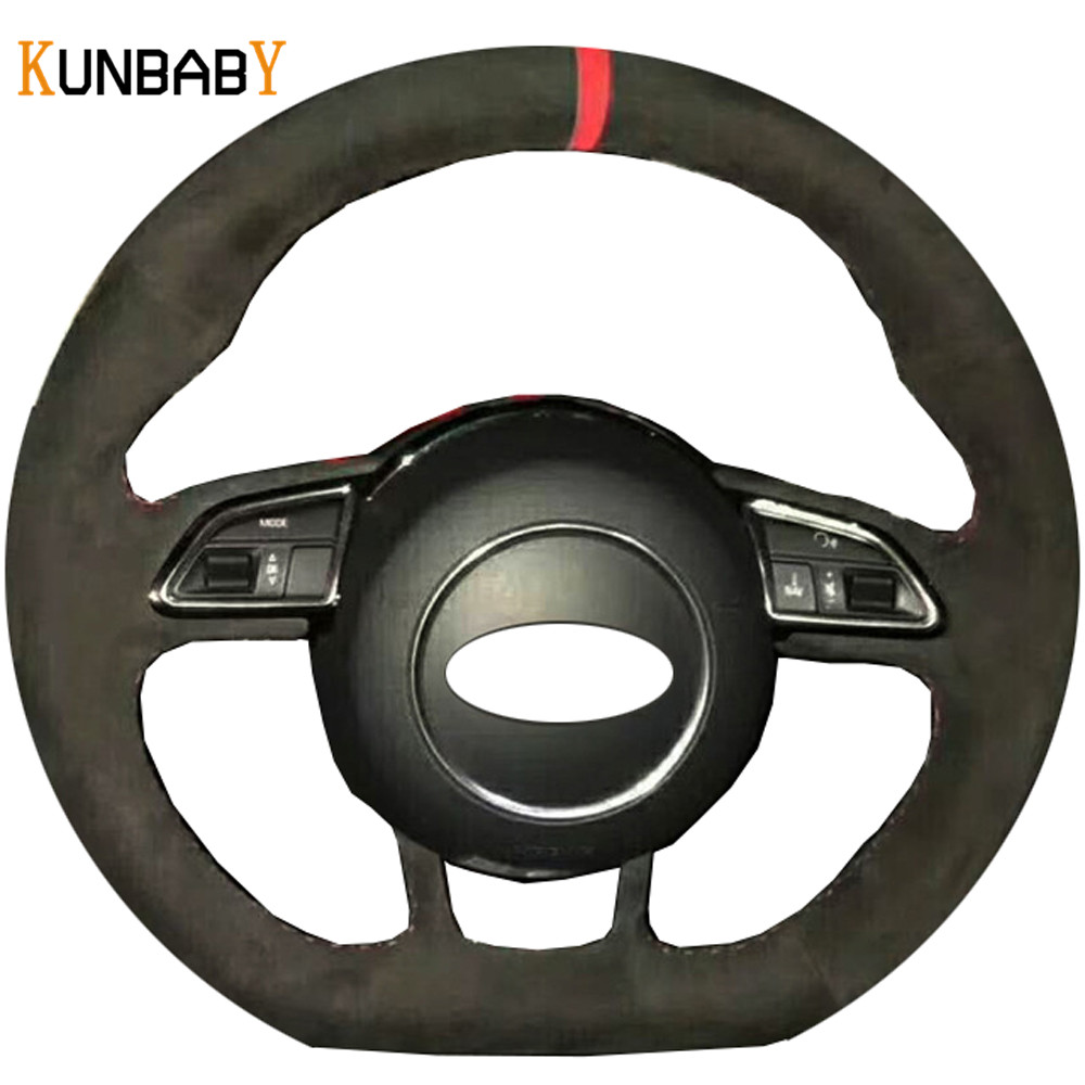KUNBABY Car Styling Black Suede Hand stitched Car Steering Wheel Cover for Audi RS4 RS5 S5