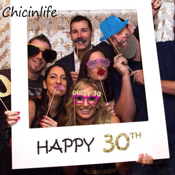 Chicinlife Happy 30/35/40/<font><b>50th</b></font> Paper Photo Booth Props Photo Frame Anniversary 30 years <font><b>Birthday</b></font> <font><b>Decorations</b></font> Party Gift Supplies image