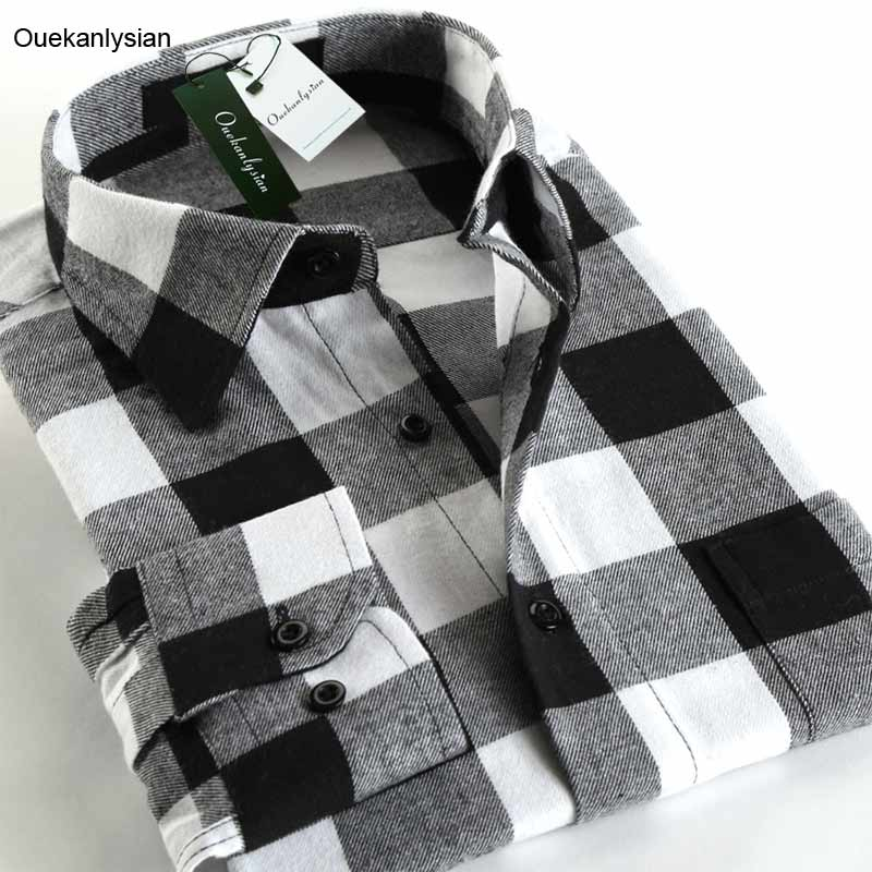 Popular red black flannel shirt buy cheap red black for Black and white check mens shirt