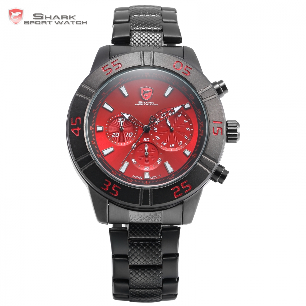 Sandbar Shark Sport Watch 3 Dial Chronograph 24 Hours Red Black Stainless Steel Band Quartz Men Gents Military Wristwatch /SH303 bigbigroad car trunk handle rear view backup reverse camera for skoda roomster fabia octavia 5e mk2 yeti superb audi a1