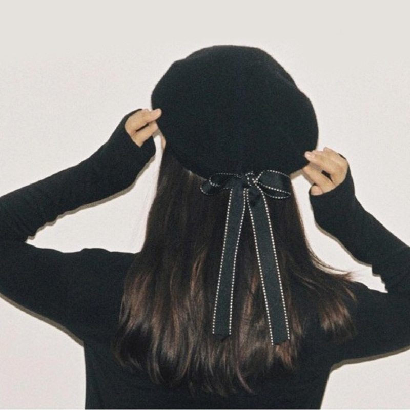 Новая мода женские мягкие элегантные береты с бантом зимняя теплая шапка Harajuku шерстяной берет шапка с бантом