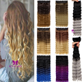 Sexy Blue Purple Silver Grey Brown Ombre Color Hairpiece 24inch Long Curly Wavy Clip In Hair Extensions B50