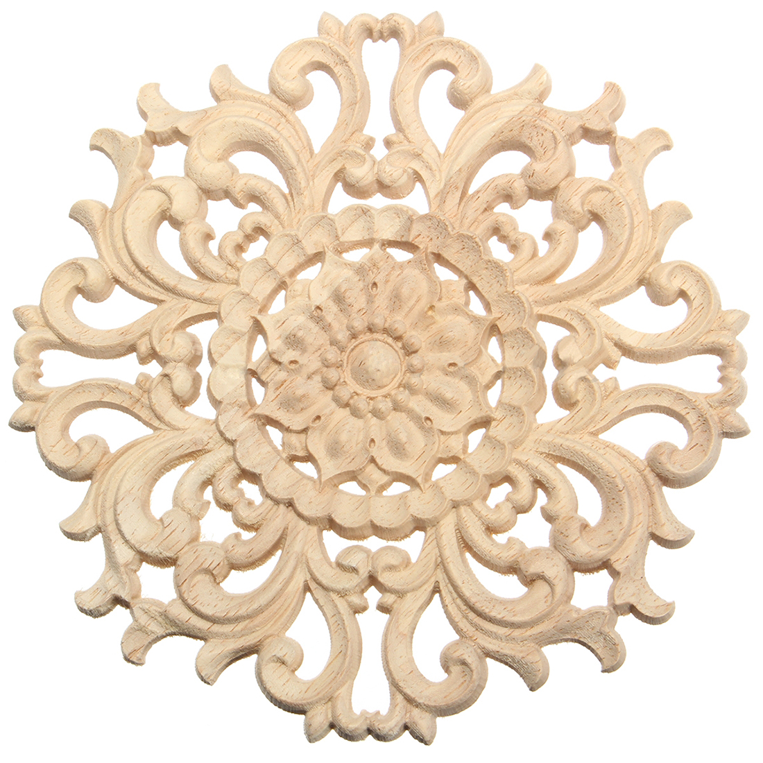Boutique DODA Lots Wood Carved Long Onlay Applique Unpainted Flower ...