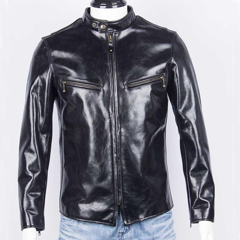 Бесплатная доставка. Супер качество лошадиная куртка. Японский стиль. Куртки из натуральной кожи. Винтажное классическое мужское облегающее пальто. Распродажа