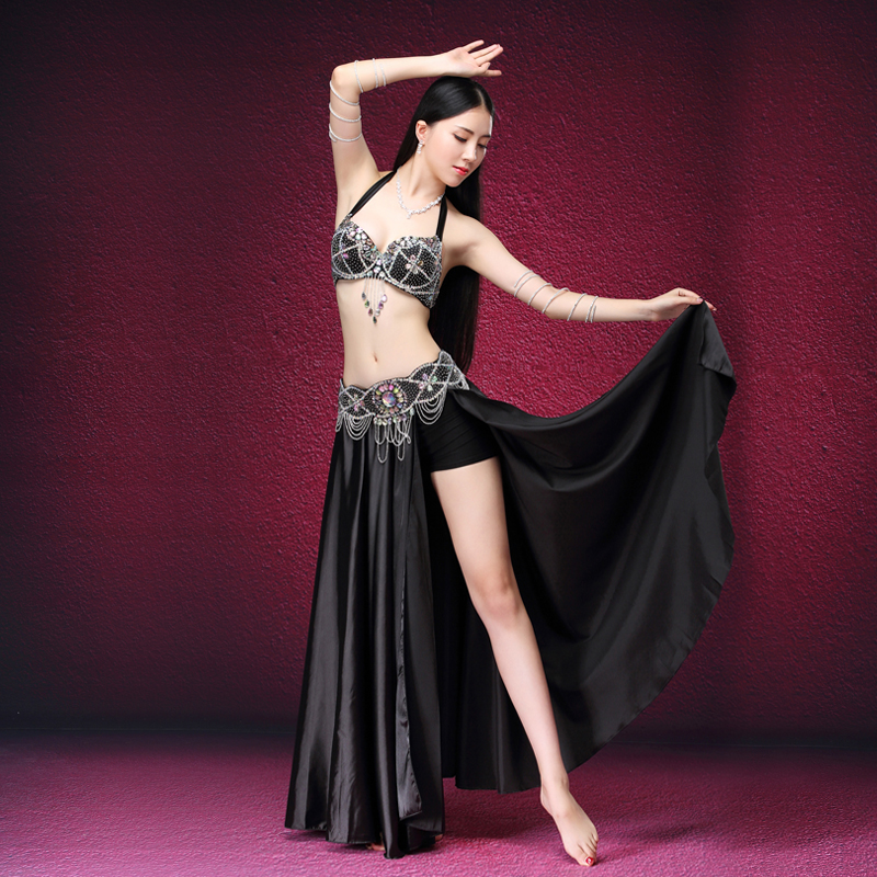 Stage & Dance Wear 2017 Belly Dancing Clothes Oriental Dance Outfits Sexy Lace Belly Dance Beaded Costume Bra Belt Skirt
