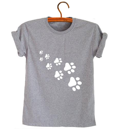 cat paws print women tshirt cotton casual funny t shirt for lady top tee hipster gray black. Black Bedroom Furniture Sets. Home Design Ideas