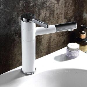Image 5 - Grifos de lavabo de latón para baño, mezclador de lavabo, caño giratorio, Color blanco, LT 701L